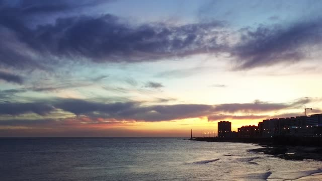 view of montevideo's coastline, after sunset, blue hour, uruguay - rio de la plata stock videos & royalty-free footage