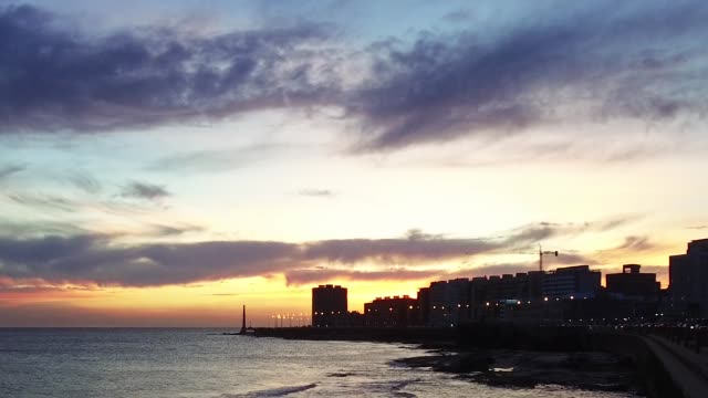 view of montevideo's coastline, after sunset, blue hour, uruguay - tranquillising stock videos & royalty-free footage