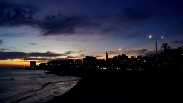 view of montevideo's coastline, after sunset, blue hour, uruguay - montevideo stock videos & royalty-free footage
