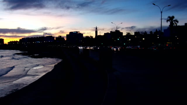 view of montevideo's coastline, after sunset, blue hour, uruguay - sedative stock videos & royalty-free footage