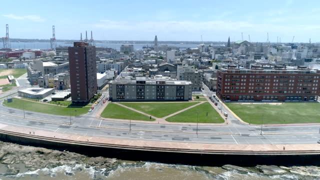 view of montevideo's coastline, ciudad vieja neighbourhood, uruguay - sedative stock videos & royalty-free footage