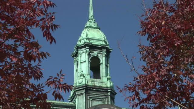 vídeos y material grabado en eventos de stock de view of montreal city hall clock tower in montreal canada - hotel de ville montreal