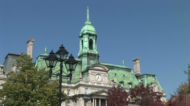 view of montreal city hall in montreal canada - hotel de ville montreal stock videos & royalty-free footage