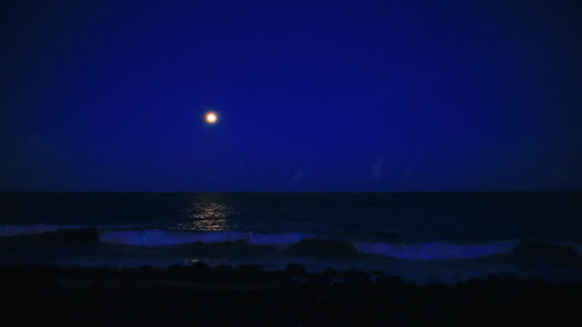 view of moonlight and seascape at night - full moon stock videos & royalty-free footage