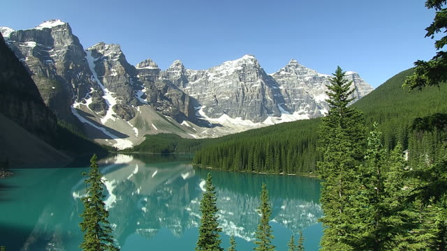 ws pan view of moraine lake in ten peaks valley at nationalpark / lake louise, alberta, canada - valley of the ten peaks stock videos and b-roll footage