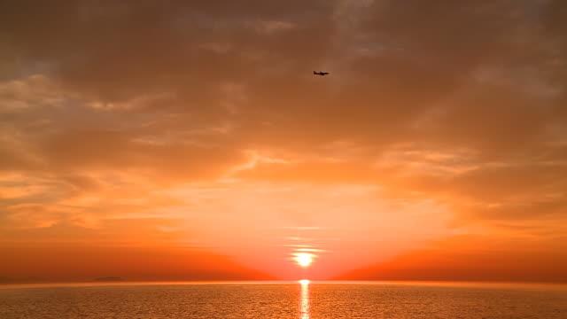 WS View of morning light over Aegean Sea at Sun rising / Santorini, Cyclades, Greece