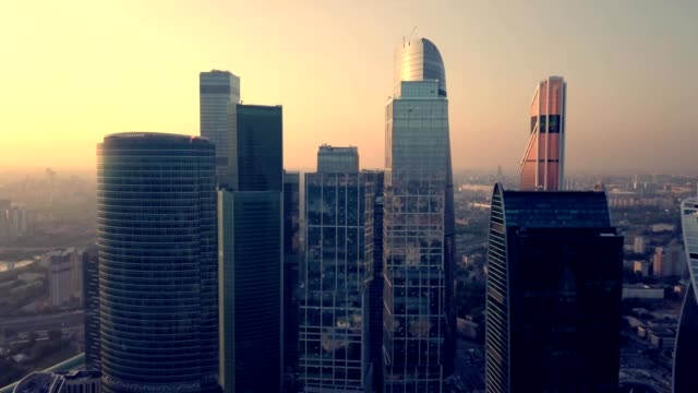 view of moscow city at sunset - moskau stock-videos und b-roll-filmmaterial