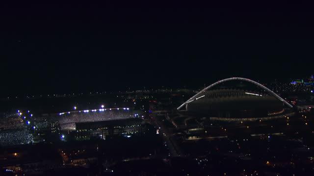 WS AERIAL View of  Moses Mabhida Stadium at night / Durban, Kwazulu-Natal, South Africa