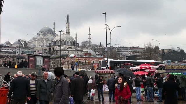 view of mosque yeni cami in istanbul turkey istanbul sightseeing on march 16 2013 in istanbul turkey - yeni cami mosque stock videos and b-roll footage