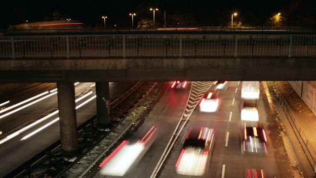 WS T/L View of motorway and elevated road with traffic at night /Cologne, North Rhine-Westphalia, Germany