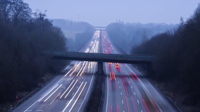 WS T/L View of Motorway at dusk / North Rhine-Westphalia, Germany