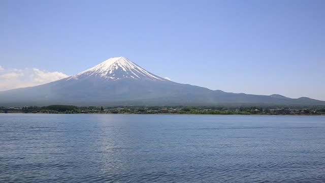 ws view of mount fuji and lake kawaguchi with blue sky / fujiyoshida, yamanashi, japan - 山梨県点の映像素材/bロール