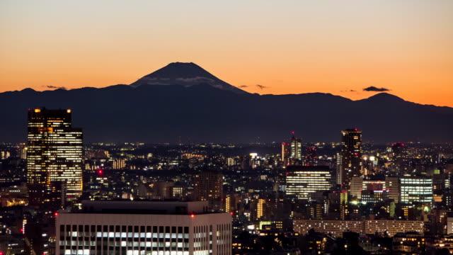 WS T/L View of mount fuji at sunset / Tokyo, Japan