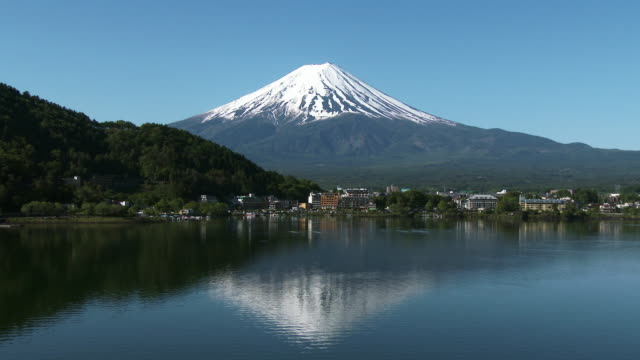 WS View of Mount Fuji reflect lake / Kawagutiko, Yamanashi, Japan