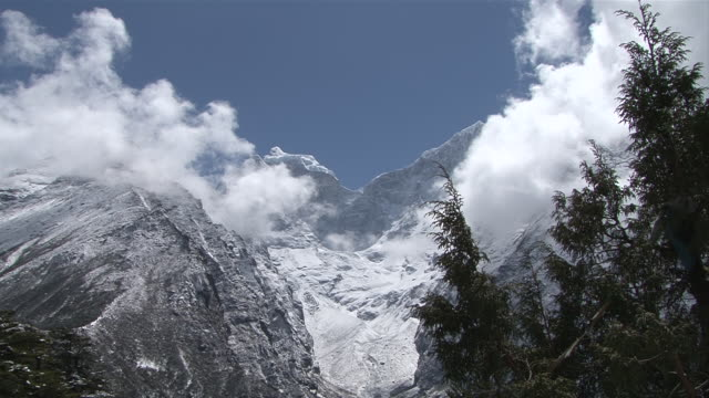 ws pan view of mount kangtega khumbu valley with tengboche monastery located on mount ama dablam / tengboche,  khumbu region, nepal - khumbu stock videos and b-roll footage