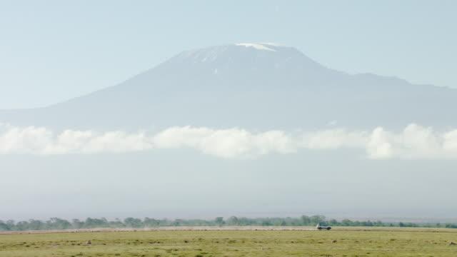 vidéos et rushes de ws pan view of mount kilimanjaro against blue sky / kenya - parc naturel