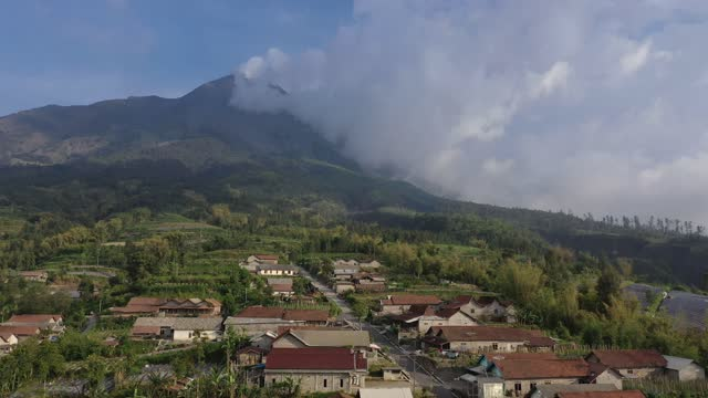 view of mount merapi seen from stabelan village, located less than four kilometers from top of mount merapi on november 9, 2020 in boyolali, central... - south east asia stock videos & royalty-free footage