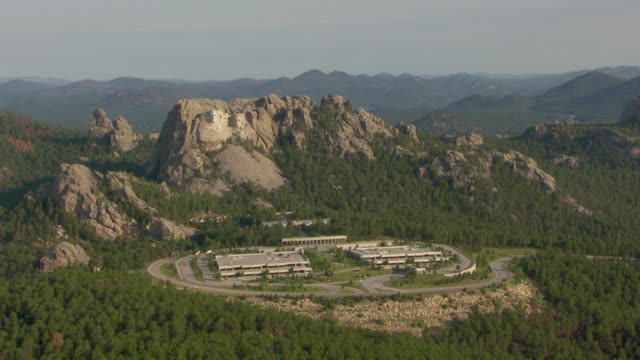 WS AERIAL View of Mount Rushmore and Memorial Complex in Pennington County / South Dakota, United States