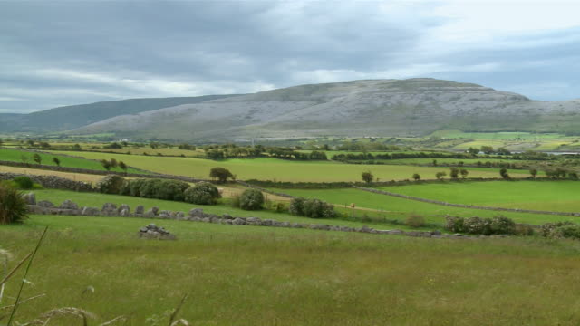 WS PAN View of mountain and field / Burren, County Clare, Ireland