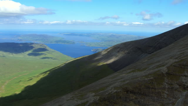 WS AERIAL DS View of mountain Ben More with Loch Scridain beyond / Isle or island of Mull, Argyll and Bute, Scotland