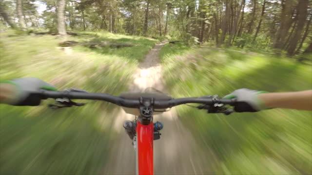 pov view of mountain biking handlebars on bicycles, men riding bikes in switzerland. - freizeitaktivität stock-videos und b-roll-filmmaterial
