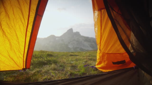 ms view of mountain from open tent, garibaldi provincial park, squamish, british columbia, canada - garibaldi park stock videos & royalty-free footage
