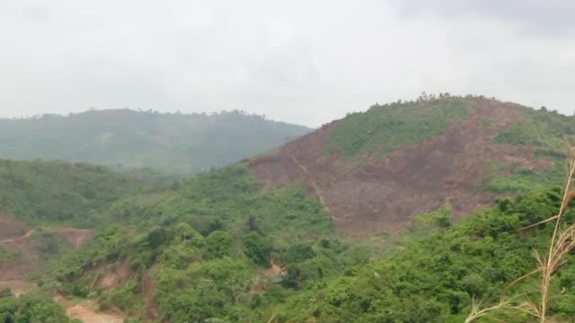 WS PAN View of mountain mined at village / Serra Pelada, Para, Brazil