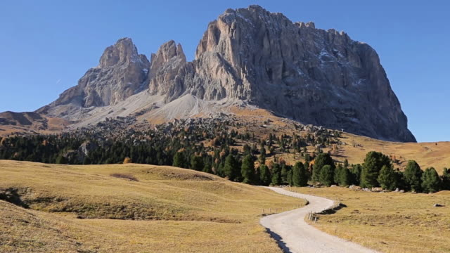 """view of mountain of """"passo sella"""" south tyrol, dolomites, italy - siusi stock videos & royalty-free footage"""