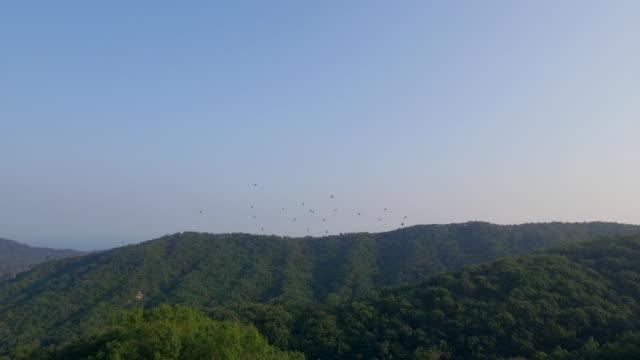 View of mountain ranges in DMZ (Demilitarized zone, A strip of land running across the Korean Peninsula), South korea