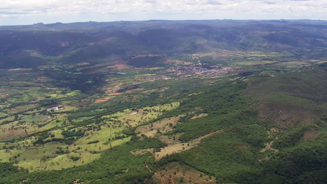 ws aerial view of mountain town / minas gerais, brazil - minas stock videos and b-roll footage