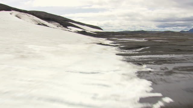 ws aerial view of mountain with edge of ice sheet / iceland - ice sheet stock videos and b-roll footage