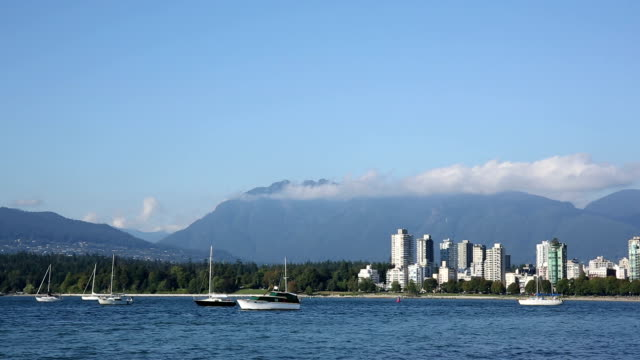 View of mountains and city skyline, Vancouver