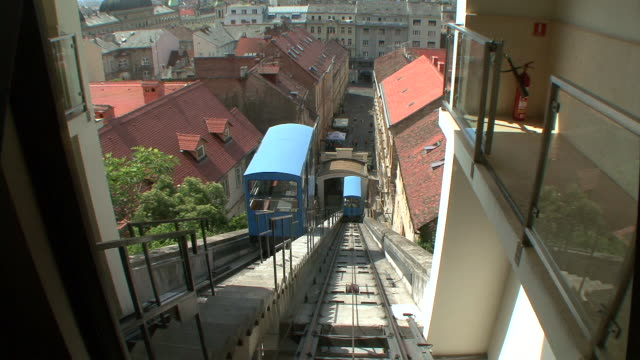 ws view of moving funicular / zagreb, croatia - zagreb stock videos & royalty-free footage