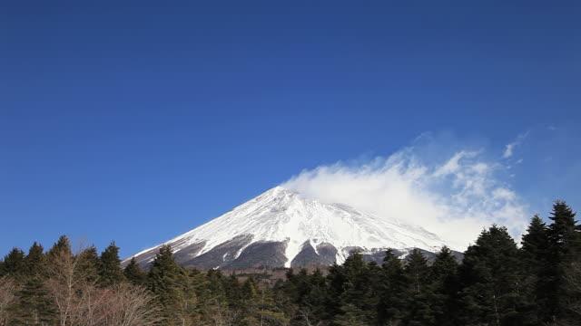ws view of mt fuji and snow storm against blue sky / fujinomiya, shizuoka, japan - shizuoka prefecture stock videos and b-roll footage
