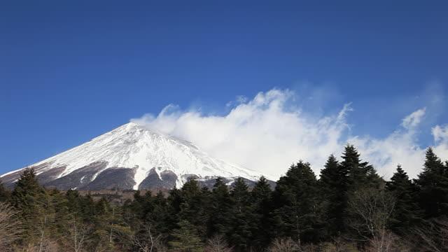 ws t/l view of mt fuji and snow storm against blue sky / fujinomiya, shizuoka, japan - shizuoka prefecture stock videos and b-roll footage