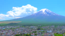 View of Mt Fuji with town / Tilt Shift