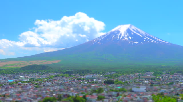 view of mt fuji with town / tilt shift - plusphoto stock videos & royalty-free footage
