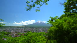 View of Mt Fuji with town