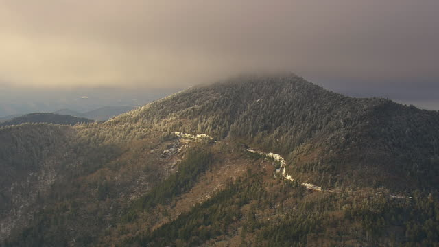 ws aerial view of mt mitchell state park & blue ridge parkway / north carolina, united states - appalachen region stock-videos und b-roll-filmmaterial