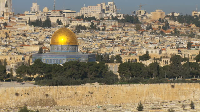 ws tu view of mt olives cemetery with temple mount / jerusalem, judea, israel - jerusalem stock videos and b-roll footage