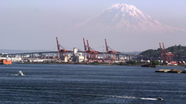 vídeos de stock, filmes e b-roll de view of mt rainier from the puget sound - pacífico norte