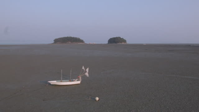 view of mud flat at taean seashore national park - mud flat stock videos and b-roll footage