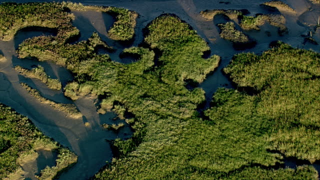 WS POV AERIAL View of mudflats at low tide / Lymington, Hampshire, England