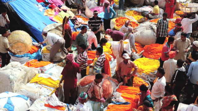 MS HA View of Mullikghat Flower Market with sellers strands of fresh orange and yellow marigold flowers / Calcutta, India