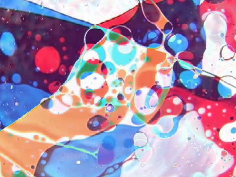 CU View of multi colored swirl oil