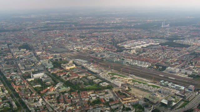 WS AERIAL View of Munich central and city of Munich / Germany