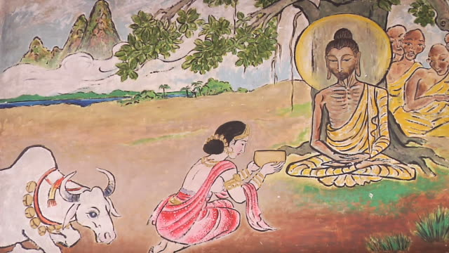 ms view of mural painting of fasting buddha in temple / gaya, bihar, india - fasting activity stock videos & royalty-free footage