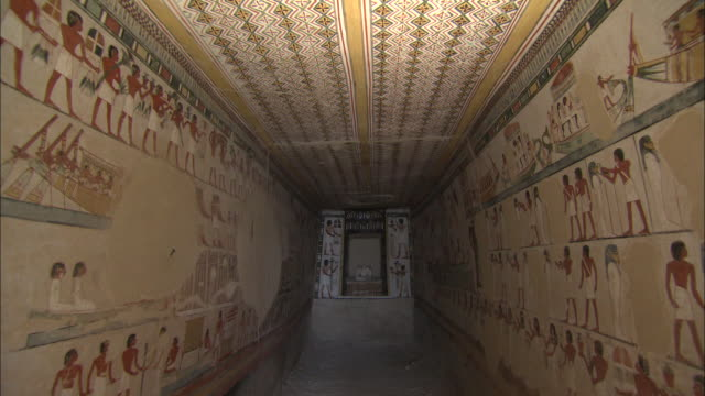view of murals inside the tomb of menna, egypt - archaeology stock videos & royalty-free footage