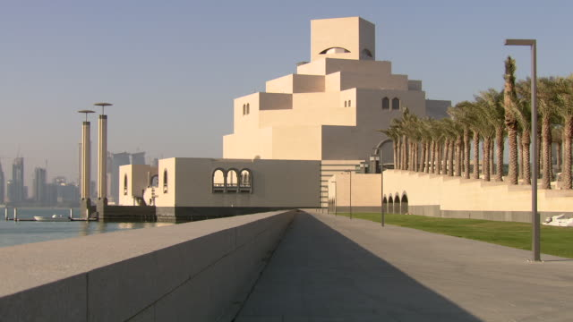 ws view of museum of islamic art / doha, qatar  - museum stock videos & royalty-free footage