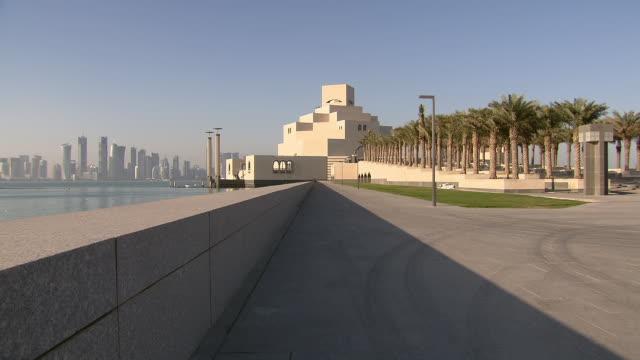 stockvideo's en b-roll-footage met ws view of museum of islamic art / doha, qatar  - doha